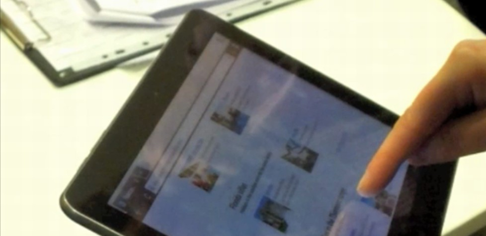 Usability testing being carried out on a tablet