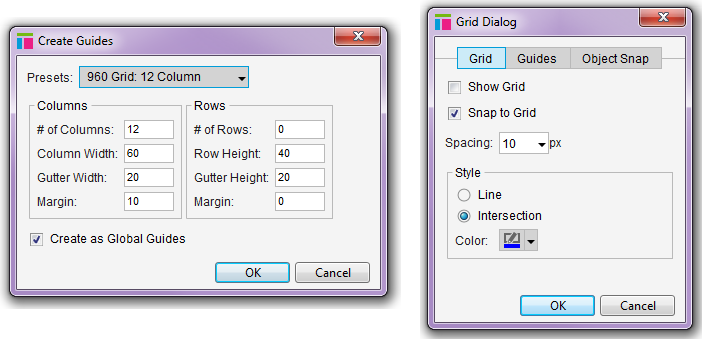 Axure guides and grids dialog boxes