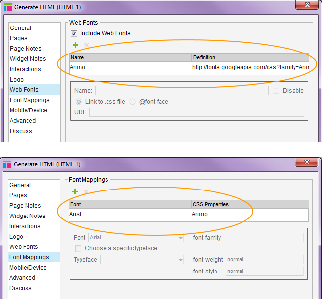 Axure web fonts and font mappings settings when generating an HTML prototype