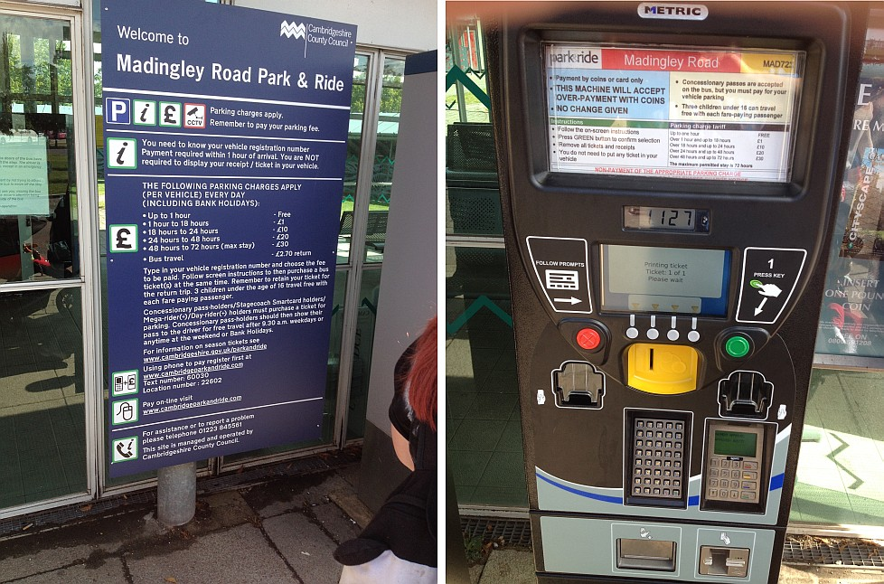 Park and ride instructions and ticket machine
