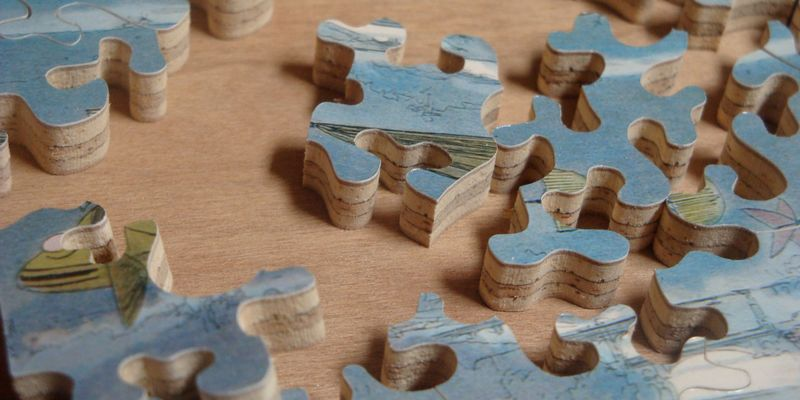 Wooden jigsaw pieces