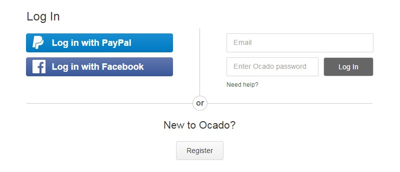 Ocado sign in page