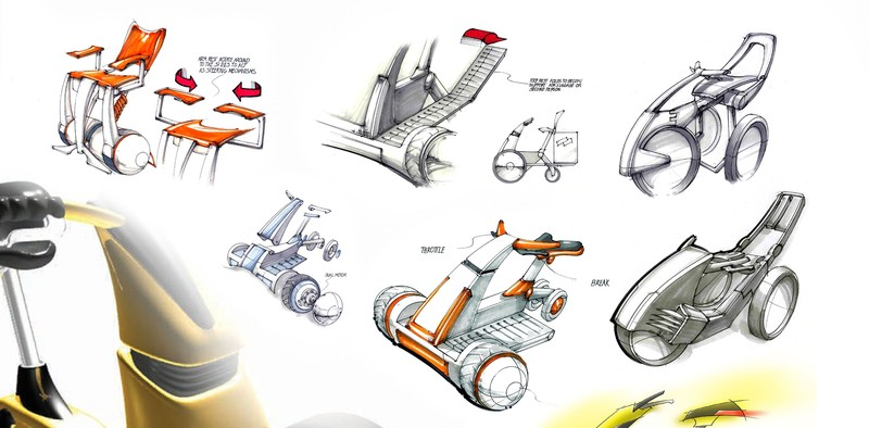 Sketches for a mobility scooters