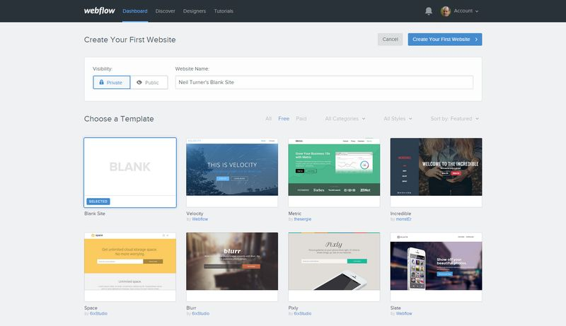 Webflow screenshot