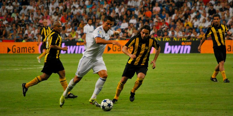 Cristiano Ronaldo during a friendly game against Peñarol
