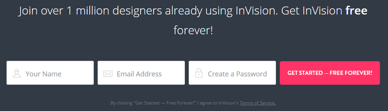 InVision signup screenshot