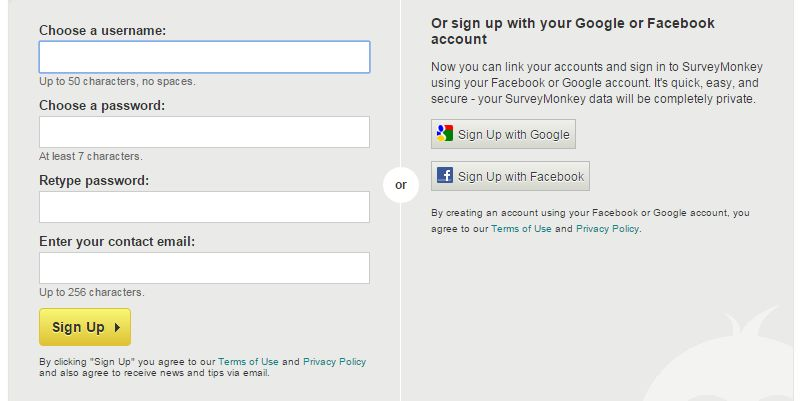 Survey Monkey signup screenshot