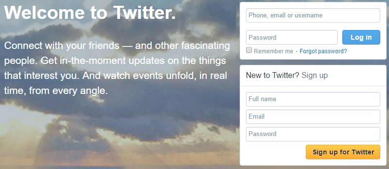 Twitter signup screenshot
