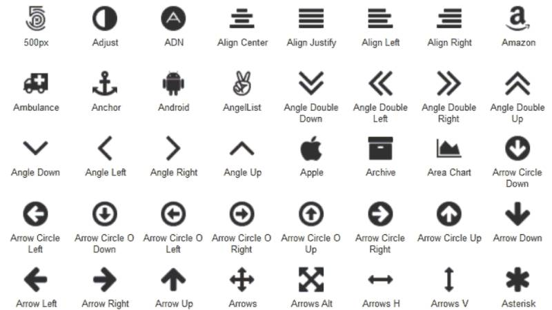 Axure icons cheatsheet