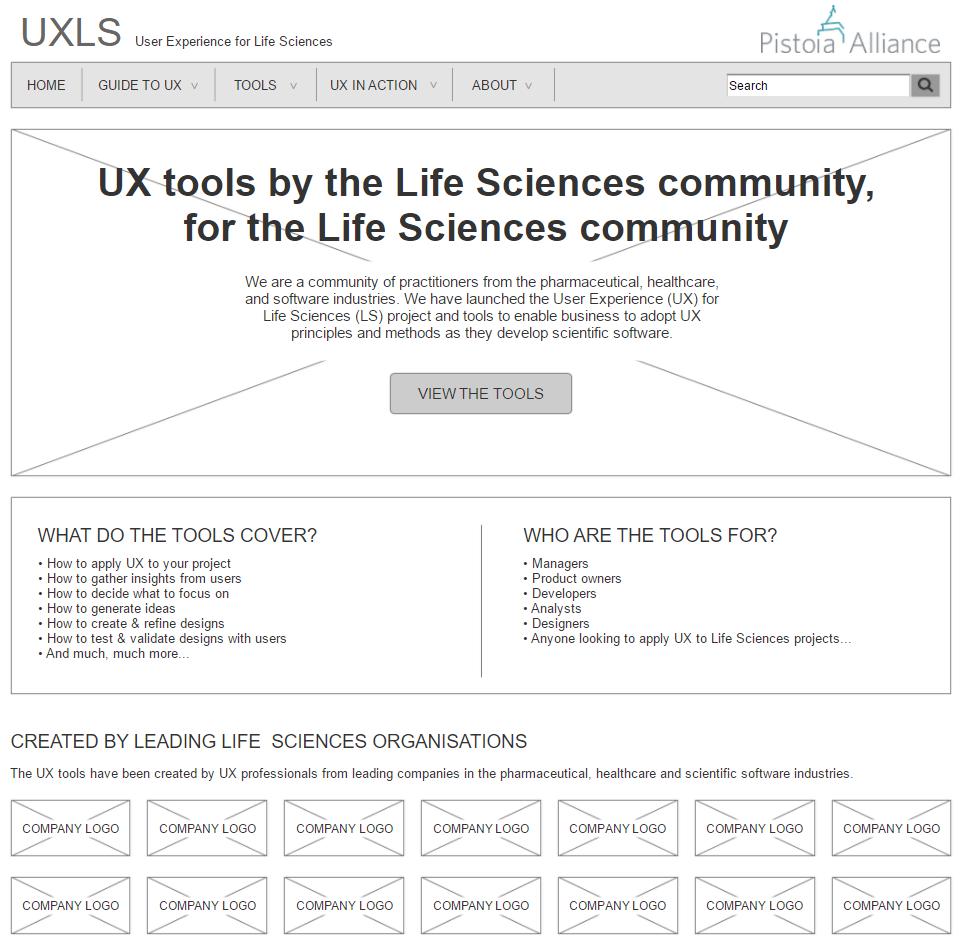 UXLS toolkit website wireframes - homepage