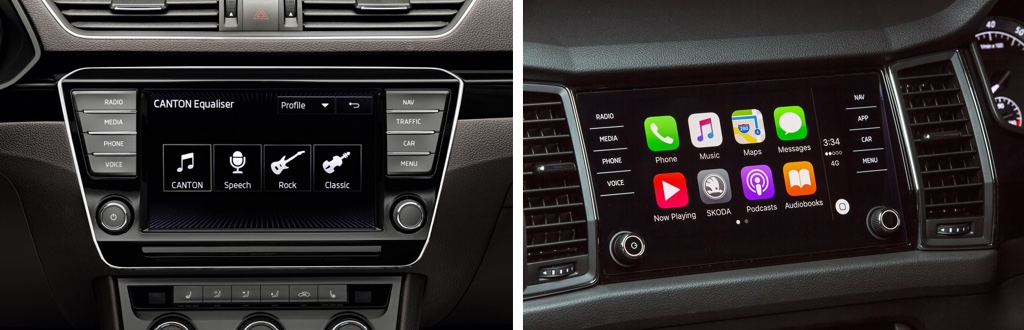 In-car touchscreen from Skoda Octavia previous and current model