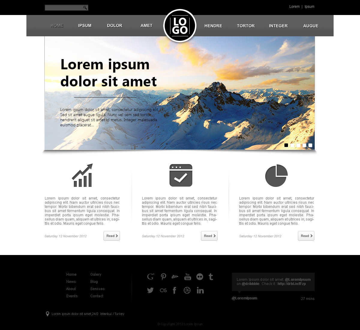 Design for a web page with lorem ipsum dummy content