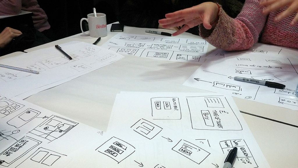 Table with lots of UI sketches