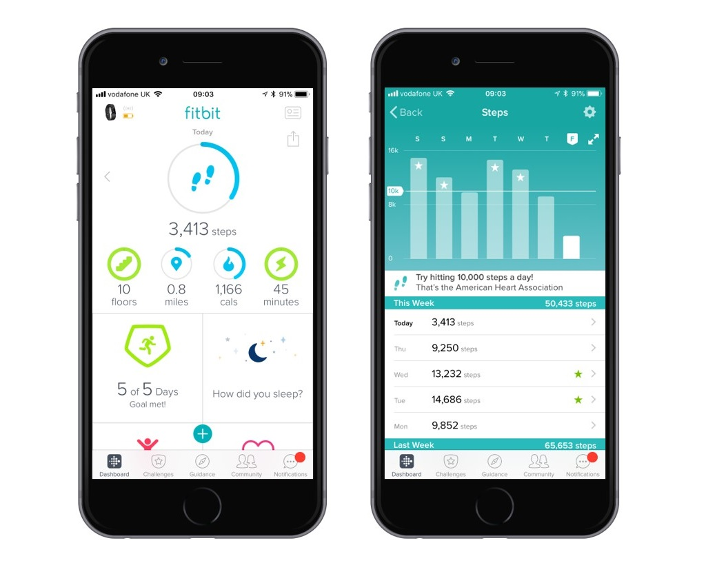 Fitbit dashboard screenshot