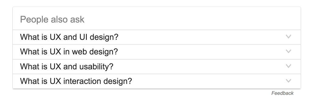 Google 'People also ask' results for 'UX'