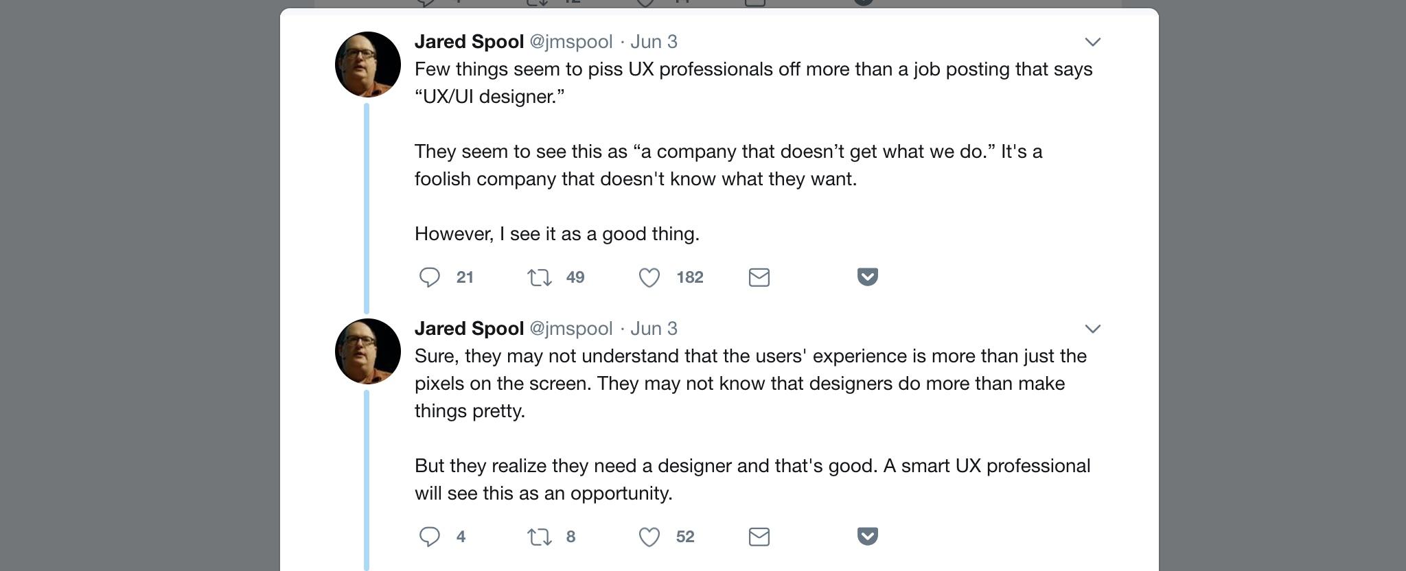 Jared Spool Tweet