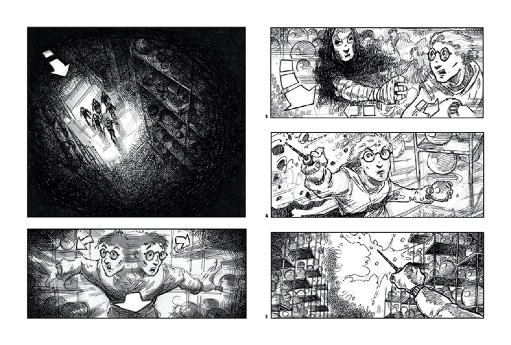 Storyboard sketches for Harry Potter film