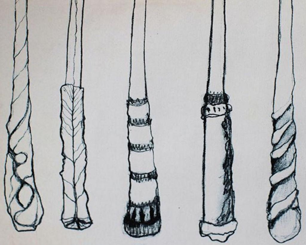 Pencil sketch of wands