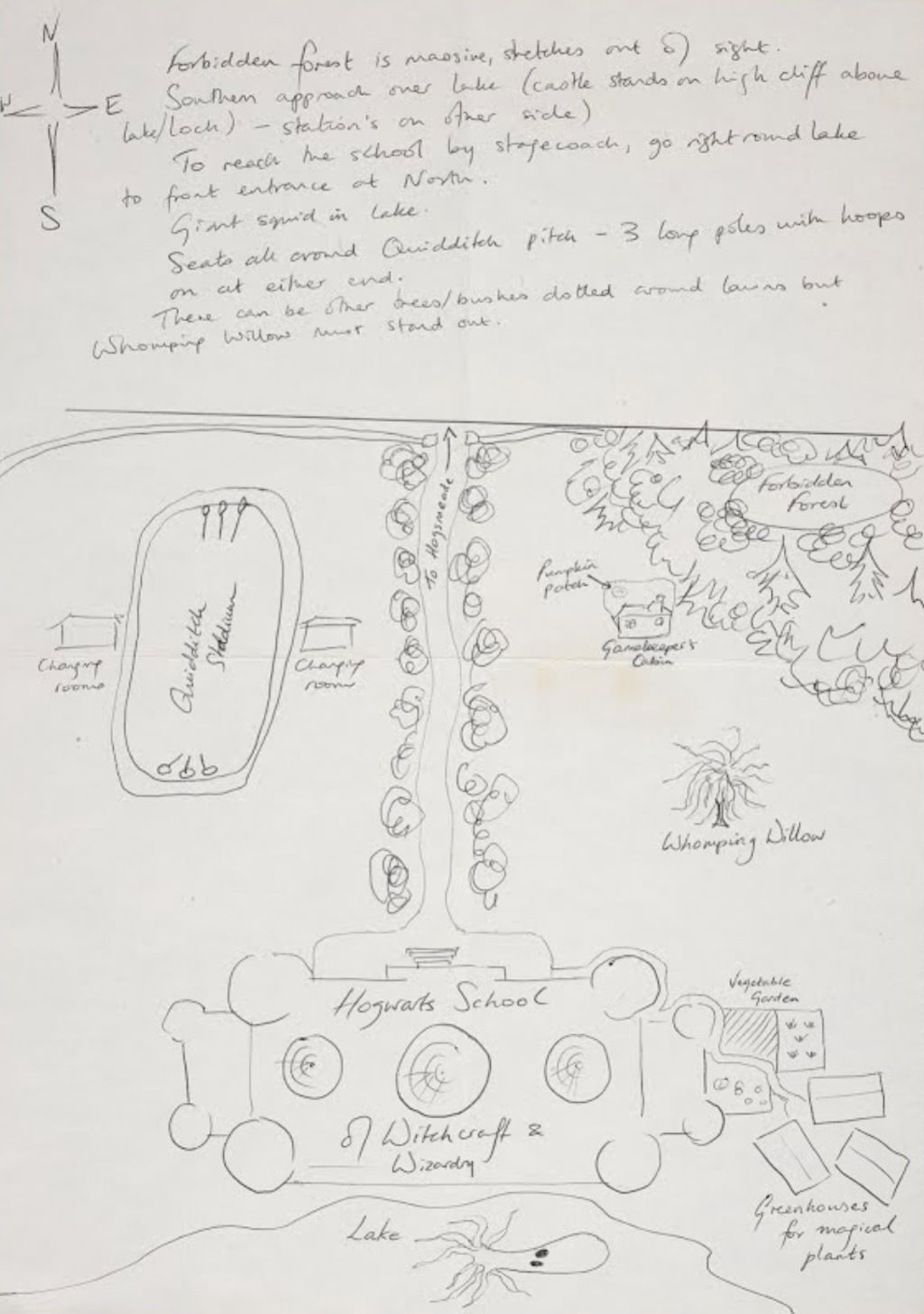 Sketched map of Hogwarts School of Witchcraft and Wizardry