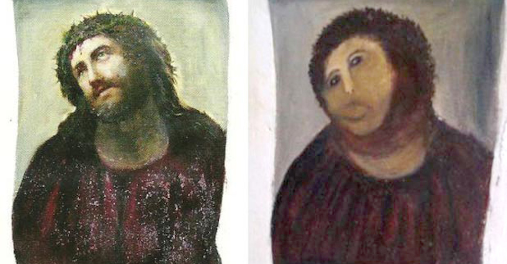 The original fresco painting by Elías García Martínez and the much-ridiculed restoration