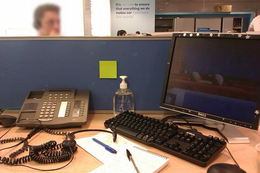 Desk in call centre