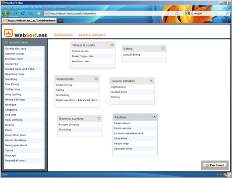 WebSort screenshot