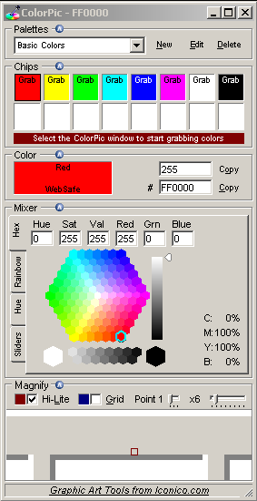 ColorPic – A free colour picker for onscreen colours