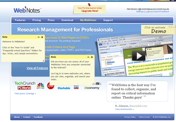 WebNotes – A free webpage annotation tool