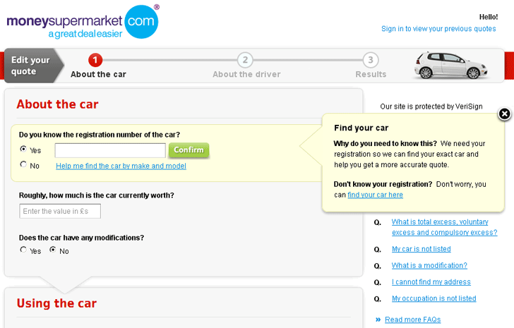 Moneysupermarket form example