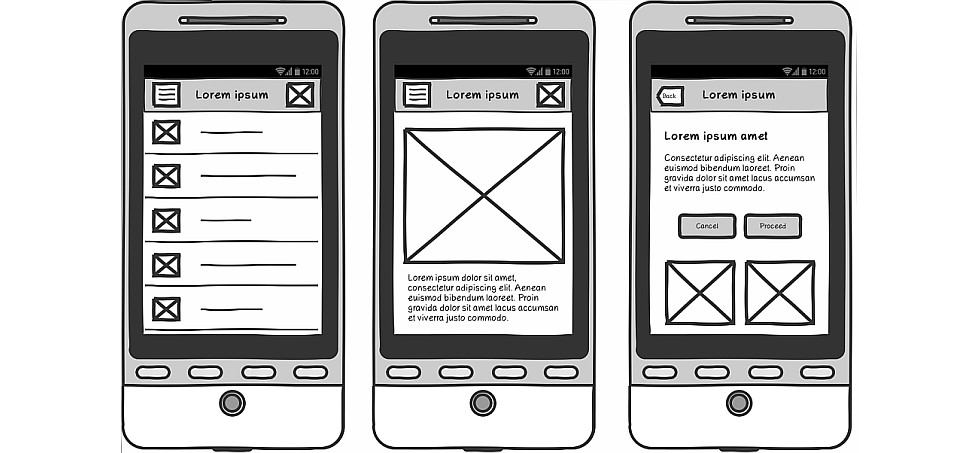 Example of a sketch Axure mobile prototype