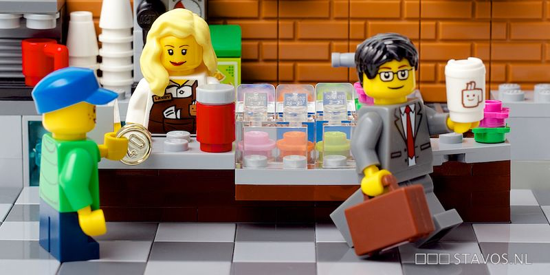 Lego people in a coffee shop