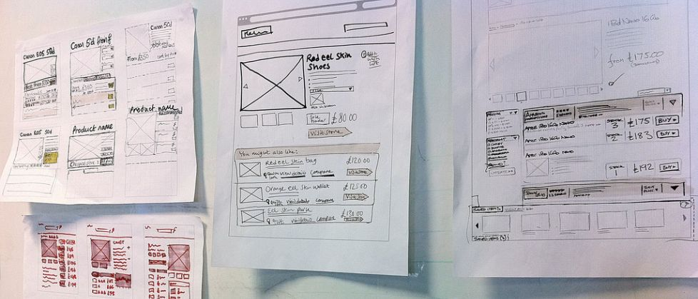 Wireframe pintouts on the wall