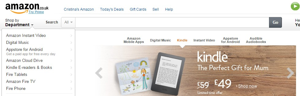 Amazon homepage and search