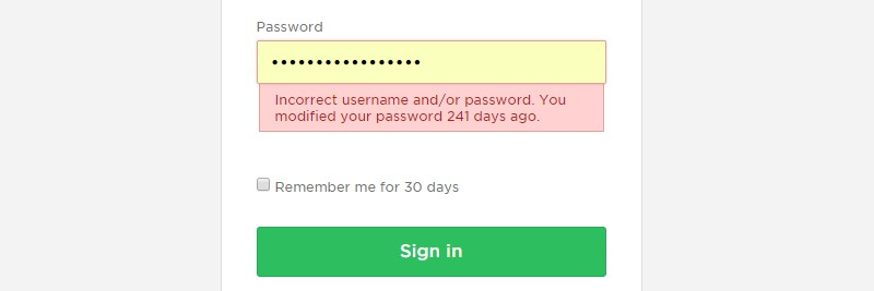 Evernote incorrect password message