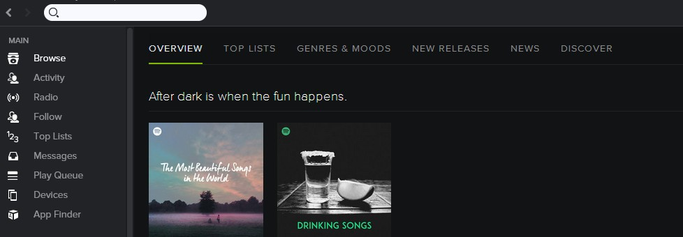 Spotify search bar