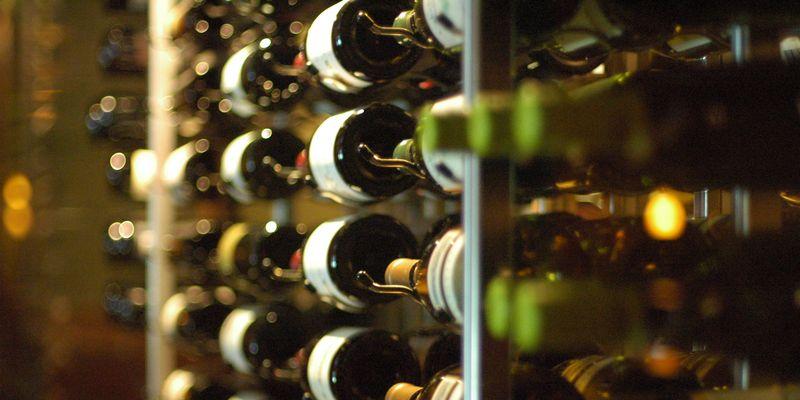 Racked wine bottles