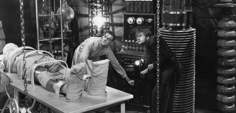 Dr Frankenstein creating his monster