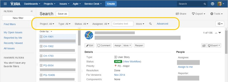 JIRA search results page