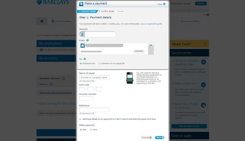 Barclays Bank overlay screenshot