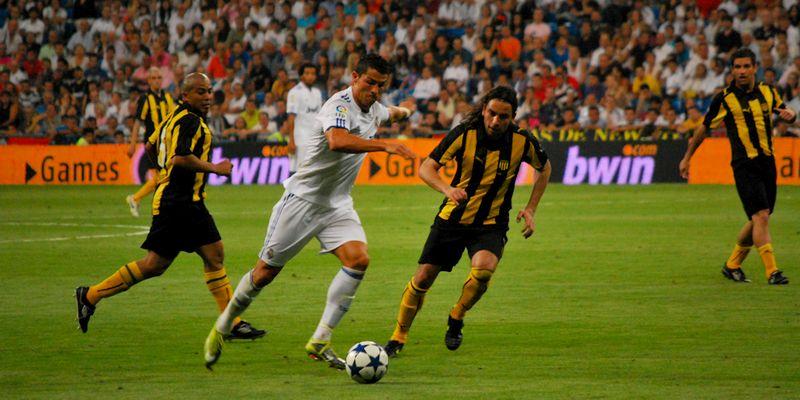 Cristiano Ronaldo during a friendly game against Peñarol