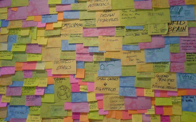 Wall filled with post-it notes