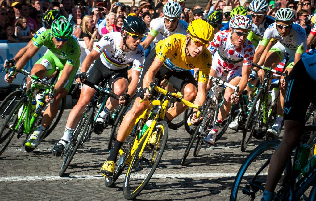 Tour de France green, yellow and polka dot jersey