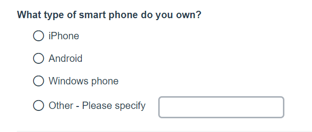 Survey question with 'Other' option