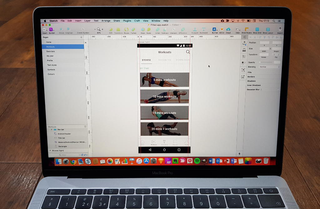Laptop showing Sketch prototype