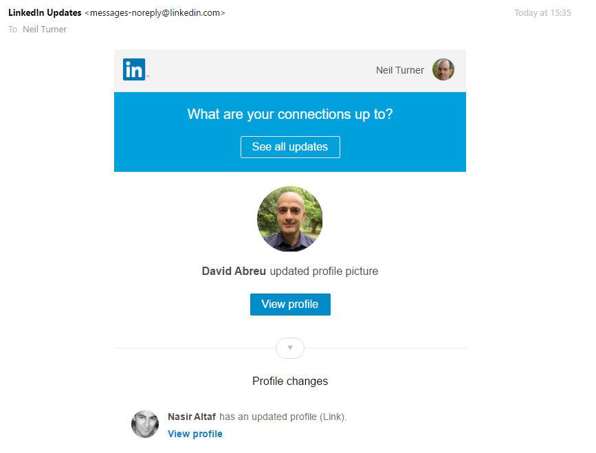 LinkedIn new profile photo email
