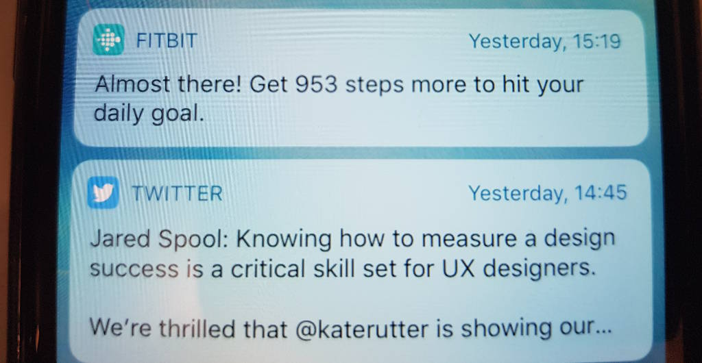 Fitbit notification screenshot