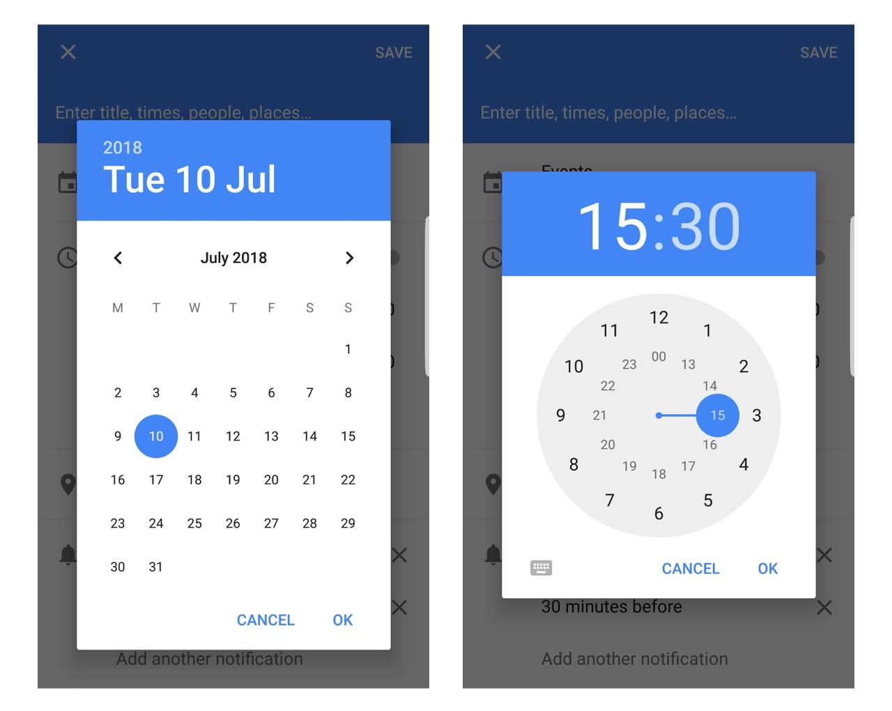 Calendar and clock skeuomorphism examples
