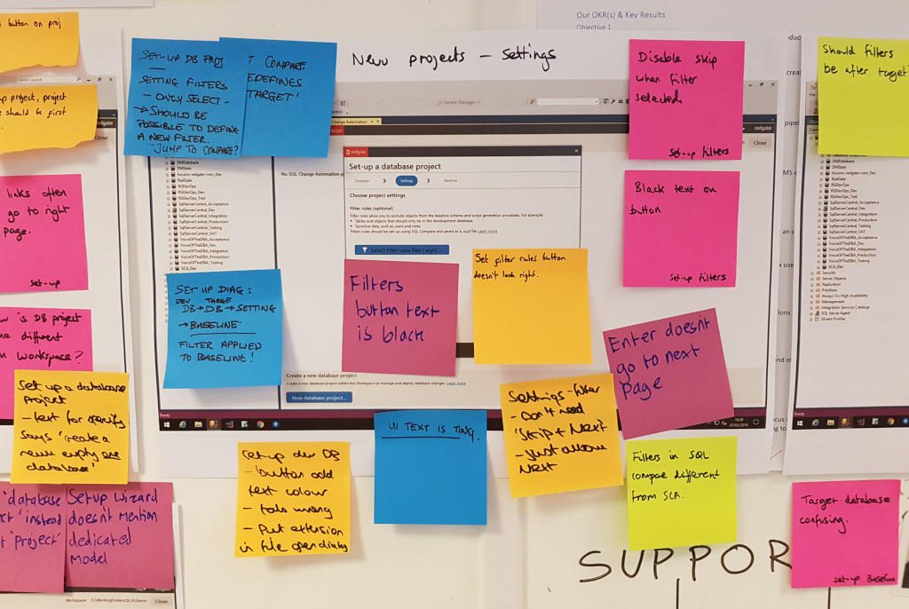 Design print out with Post-it notes stuck on