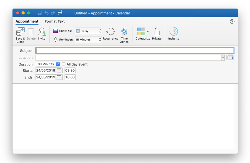 Appointment window for Outlook