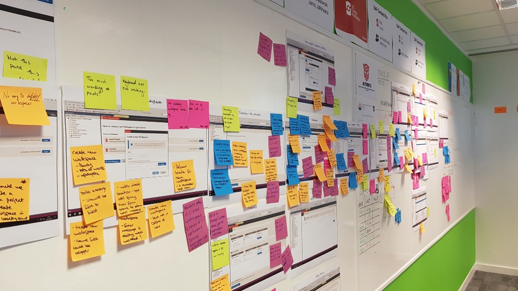 Whiteboard with screenshots and post-it notes